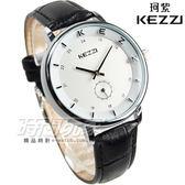 KEZZI珂紫 LOGO時刻小秒盤設計腕錶 中性錶 女錶 男錶 皮革錶帶 小秒針 黑色 KE1433黑大