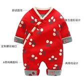 女童拜年服 拜年服女童嬰兒春中國風加絨套裝新年裝紅色唐裝連體衣滿月【快速出貨八折鉅惠】