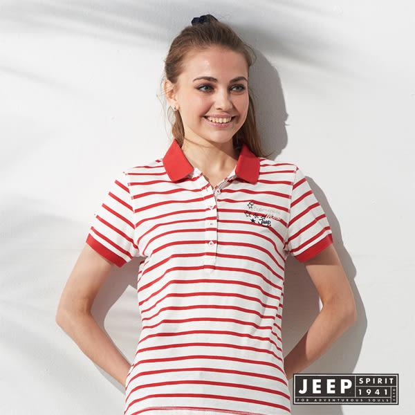 【JEEP】女裝 運動風魅力條紋短袖POLO衫 (紅色)