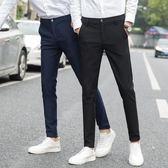 夏季褲子男韓版潮流修身男士休閒褲男褲薄款男生黑色小腳西褲男 【PINK Q】