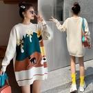 韓版毛衣女生長袖 女士毛衣學生加厚上衣 日系可愛卡通秋冬保暖打底衫 潮流甜美女生針織衫