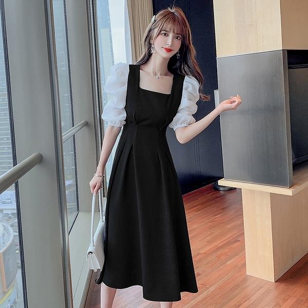 洋裝小禮服 韓系方領復古拼接撞色連身裙 花漾小姐【預購】