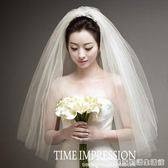 韓式短款新款新娘婚禮簡約多層蓬蓬頭紗婚紗旅拍造型紗  居家物語