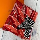 BRAND楓月 HERMES 愛馬仕 紅色 叢林斑馬造型 方絲巾 服飾配件 90*90