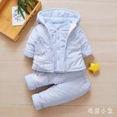 嬰兒套裝0-2歲女寶寶冬款純棉加厚套裝6個月嬰幼兒童秋冬夾棉三件套 DJ66『毛菇小象』