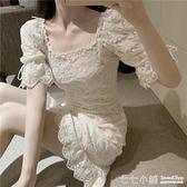 短袖洋裝~氣質溫柔洋裝女2020夏季新款花朵刺繡方領裙子收腰顯瘦a字短裙