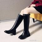 騎士靴女靴子秋冬加絨長筒靴不過膝高筒中筒靴馬靴皮靴長靴小個子 檸檬衣舎