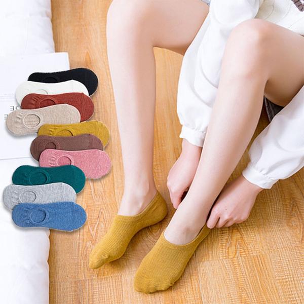 女士春夏隱形襪 女船襪 糖果色 矽膠防滑 淺口森系純色女襪子【庫奇小舖】