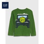Gap男幼童 可愛恐龍圖案圓領長袖套頭T恤522850-墨綠色