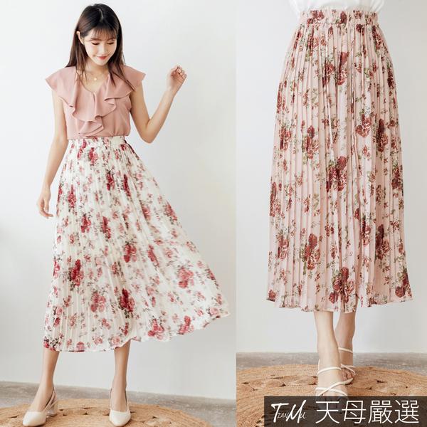 【天母嚴選】浪漫花卉百摺雪紡長裙(共二色)