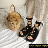 羅馬交叉綁帶涼鞋女夏平底鞋露趾拖鞋女