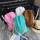 帆布束口袋後背包學生運動棉布拉抽繩布袋小背包學生旅行文藝