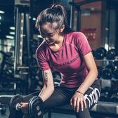 新款字母健身T恤女上衣跑步短袖速干緊身衣