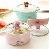 韓國卡通創意泡面碗帶蓋雙耳陶瓷碗