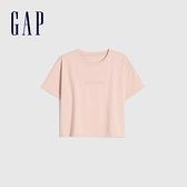 Gap女裝 純棉質感厚磅圓領短袖T恤 656342-淡粉色