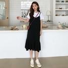 夏季新款韓版寬松黑色古著法式魚尾吊帶連衣裙長款過膝背帶裙學生