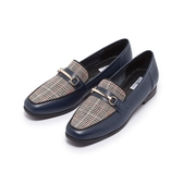 【Fair Lady】小時光.格紋拼接馬銜釦平底樂福鞋 冰島藍