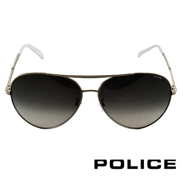 【南紡購物中心】POLICE 飛行員太陽眼鏡金屬大框面時尚必備(金屬白) POS8585-0528