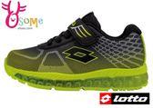LOTTO運動鞋 童 全氣墊 多功能透氣慢跑鞋L8624#黑綠◆OSOME奧森童鞋/小朋友