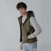 【GIORDANO】男裝素色拉鍊款連帽鋪棉背心 - 03 葡萄葉綠