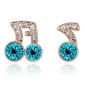 水晶耳環 925純銀(耳針式)-鑲鑽音符生日情人節禮物女飾品4色73bd28【時尚巴黎】