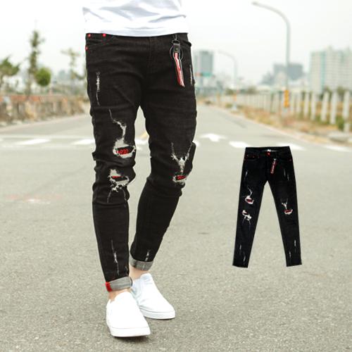 牛仔褲 韓國製紅色釘釦文字補丁黑色牛仔褲【NB0460J】