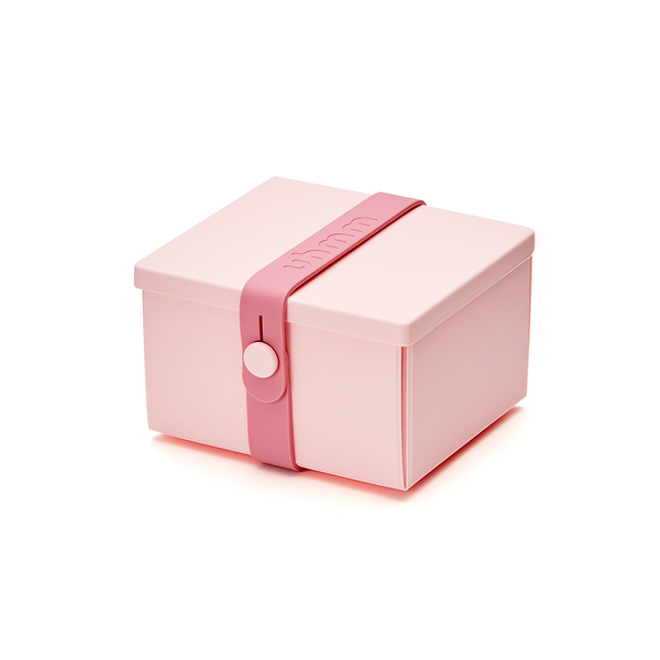 Uhmm Folding No.02 12x10cm 丹麥生活系列 環保折疊式 方形 點心盒 - 粉紅色束帶款(粉紅色餐盒)