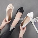 單鞋女平底2021春季新款尖頭平跟軟底淺口百搭四季鞋黑色低跟女鞋 快速出貨
