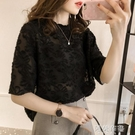 蕾絲上衣 歐洲站夏新款短袖女甜美蕾絲上衣修身顯瘦洋氣小衫流行雪紡衫 阿薩布魯