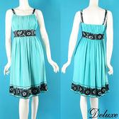【Deluxe】夏日甜心亮片印花無袖雪紡洋裝(綠)