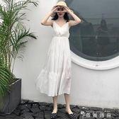 夏季大碼女裝高腰顯瘦V領白色收腰吊帶連身裙子女 薔薇時尚