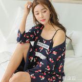 夏季薄款孕婦短袖睡裙產婦純棉月子服喂奶衣產后哺乳期睡衣家居服 QG7435『優童屋』