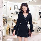 2019春季新款韓版百搭時尚寬鬆顯瘦黑色西服休閒chic小西裝女外套
