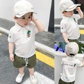 兒童襯衫夏裝新款短袖仙人掌男童polo衫嬰兒洋氣上衣寶寶襯衣潮衣