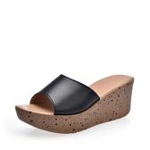 休閒厚底拖鞋2018夏季高跟時尚真皮厚底涼拖鞋女鞋室外坡跟休閒媽媽鞋外穿百搭