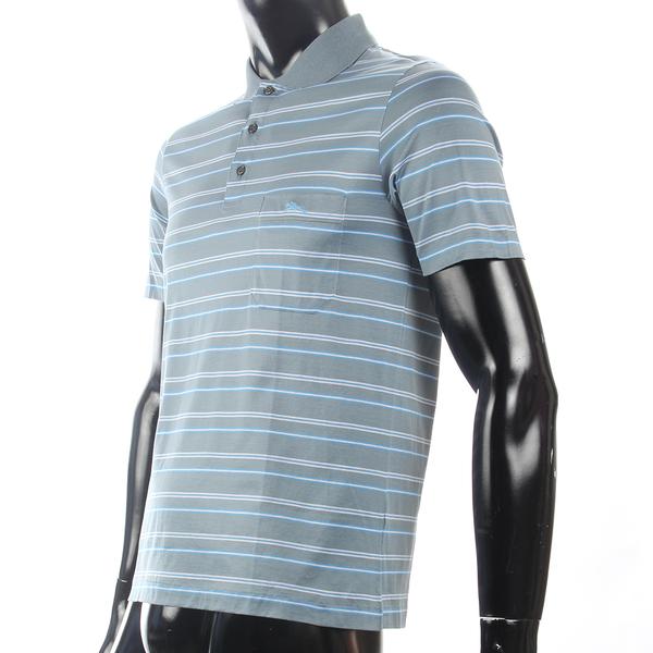 LONGCHAMP 經典純棉雙條紋短袖POLO衫(灰藍/白)179240-6