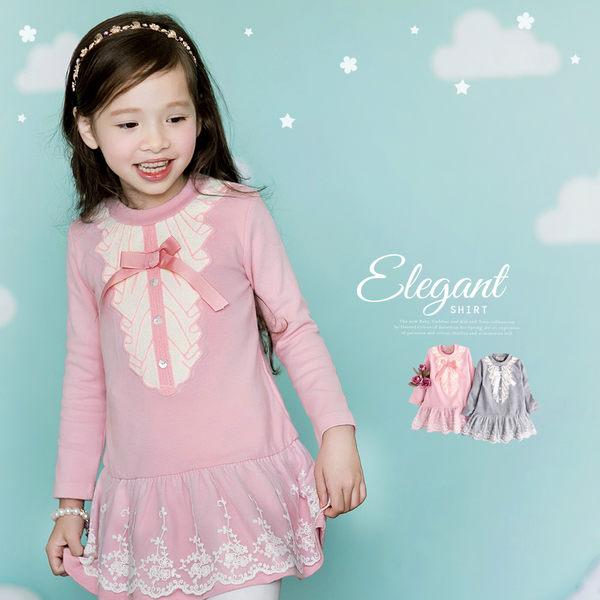 電繡荷葉領公主洋裝蕾絲裙襬~長袖厚Q棉(240435)★水娃娃時尚童裝★