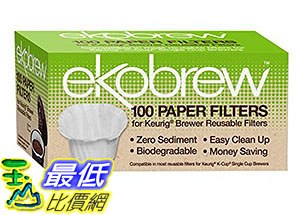 [105美國直購] 咖啡濾紙 Optional Coffee Paper Filter for Ekobrew Single Serve Filter, 100 Count