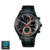 WIRED SEIKO副牌 東京潮流鏡面切割玫瑰金三眼黑鋼錶 40mm VR33-0AA0K AY8011X1 | 名人鐘錶