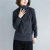 純色磨毛高領T恤 秋冬新款大尺碼胖mm顯瘦長袖打底衫彈力蝙蝠袖上衣 萬聖節鉅惠