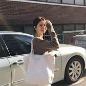 韓國大容量極簡風字母單肩帆布包手提女包托特包旅行包【七七特惠全館七八折】