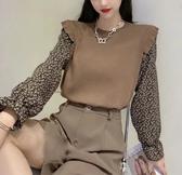 VK精品服飾 韓國風百搭針織拼雪紡袖碎花清新小短款長袖上衣
