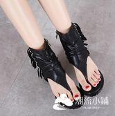 鬆糕鞋-夏季新款魚嘴女涼鞋內增高女鞋平底松糕厚底涼靴高幫羅馬涼鞋
