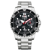 CITIZEN 極速領域三眼計時腕錶-銀X黑
