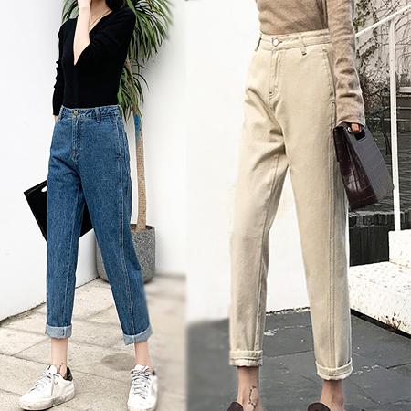 復古高腰牛仔寬褲 寬鬆女生長褲直筒褲   2色 S-XL碼【LX005】