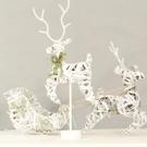 聖誕節裝擺件 鐵藝鹿拉車圣誕節擺件 小款圣誕鹿吧臺柜臺裝飾品 飛鹿麋鹿