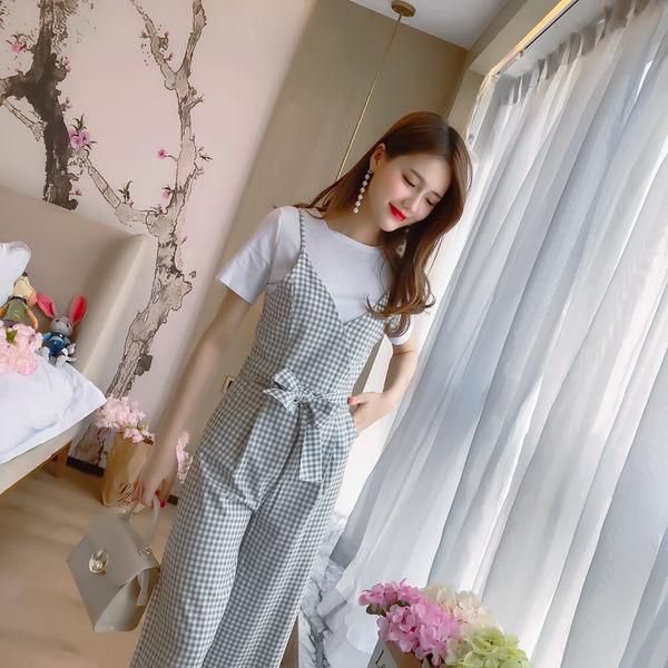 VK旗艦店 韓國風高腰格子背帶寬口褲套裝時尚短袖褲裝