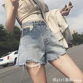 短褲 2020夏季韓版大碼胖mm牛仔短褲女寬鬆顯廋高腰ins破洞a字闊腿熱褲 秋季新品