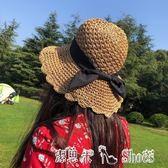 沙灘帽 韓版帽子女夏遮陽帽小清新手工草帽出遊女夏天度假沙灘帽 「潔思米」