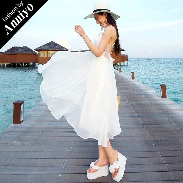 Anniyo安妞‧韓版時尚氣質名媛性感純色露背細肩帶海邊度假雪紡連衣裙小洋裝小禮服 白色